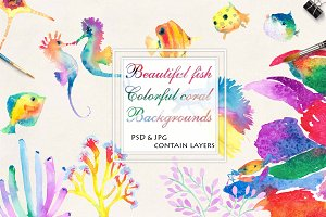 Watercolor fish, coral, sea