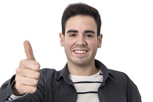young smiling with okay and approval signal isolated man