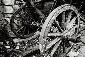 Old wood coach wheel