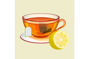 Cup on saucer with tea bag, water and fresh lemon