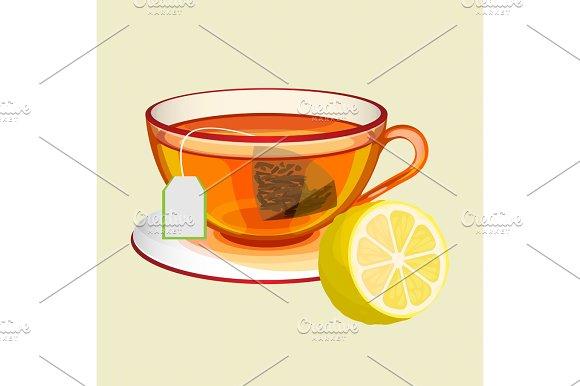Cup On Saucer With Tea Bag Water And Fresh Lemon