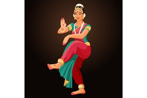 Bharatanatyam or Bharathanatiyam woman dancer vector ilustration isolated