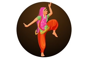 Solo dance performed by girl in silk shirt and trousers with covered head