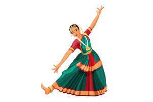 Solo dance performed by girl with hindi accessories. Bharatanatyam woman