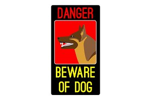 Danger beware of dog sign with shepherd dog vector illustration