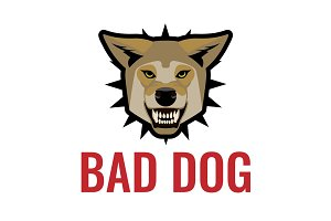 Bad dog poster vector illustration on white. Beware of dogs