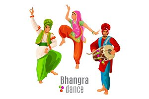 Bhangra dance concept men and woman in national cloth dancing