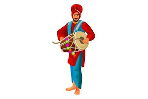 Punjabi bhangra drummer in national cloth vector illustration