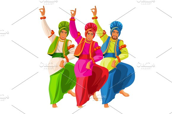 Bhangra Dancers In National Cloth Vector Illustration Isolated On White