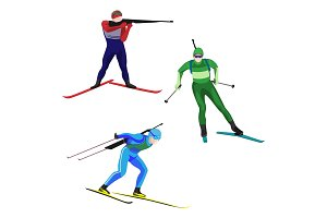 Biathlonists set on skis vector illustration isolated on white.