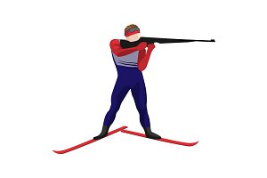 Biathlonist with small-bore rifle standing on skis vector illustration isolated