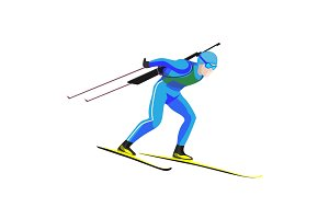 Biathlete skier racing down on high speed on skis