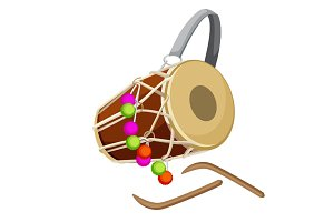 Drum percussion instrument double-headed dhol and wooden sticks vector