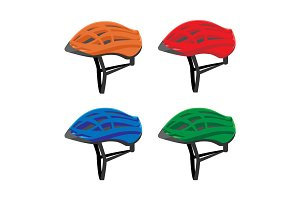 Set of bicycle helmets vector illustration isolated on white