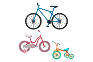 Set of bicycles vector realistic illustration isolated on white