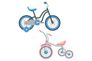 Set of bicycles for children vector realistic illustration isolated