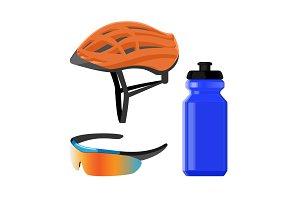 Cycling sportswear helmet, plastic drinking bottle, protective modern sunglasses
