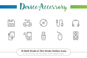 16 Accessory Outline Stroke Icons