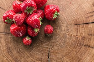 Strawberries on the old wood