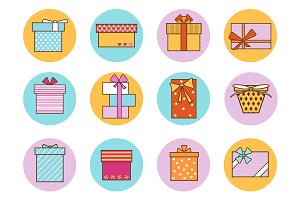 Gift Boxes Color Set. Vector