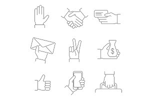 Hand Thin Line Icon Set. Vector