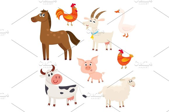 Farm Animals Cow Sheep Horse Pig Goat Rooster Hen Goose