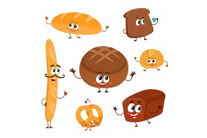 Set of funny bread, bakery characters with human faces
