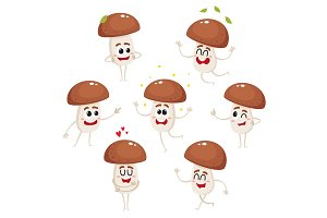 Funny porcini mushroom character with human face showing various emotions