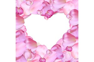 Heart shape of pink petals vector