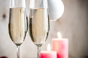 Glasses of champagne on Christmas