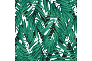 Tropical Palm leaves. seamless