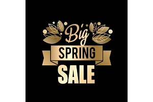 Golden spring design. Vector illustration. Big spring sale.