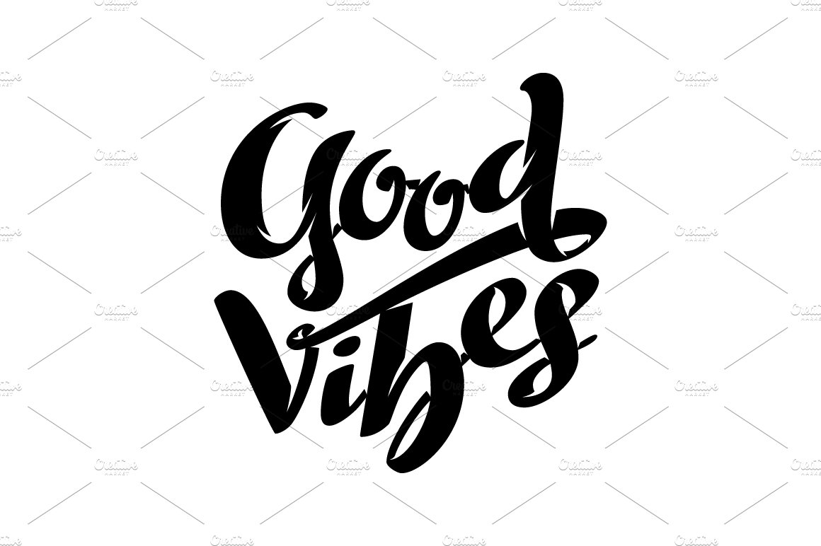 good vibes lettering illustrations creative market