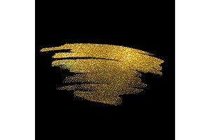 Gold sparkles on black background. Golden glitter