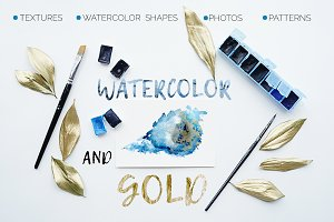 Watercolor and Gold-textures,shapes
