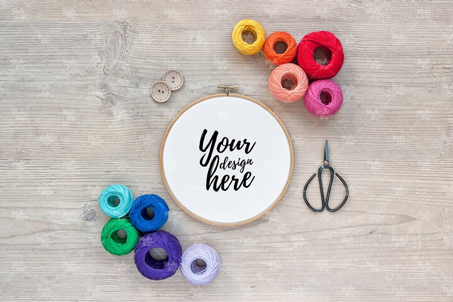 Embroidery hoop mockup / #4081