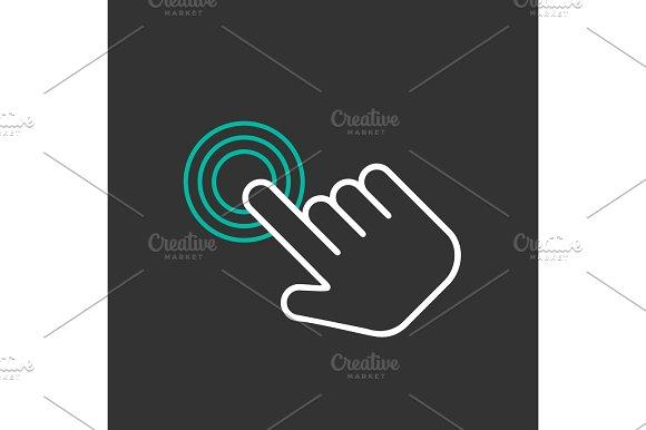 Click Hand Icon Vector Flat Design
