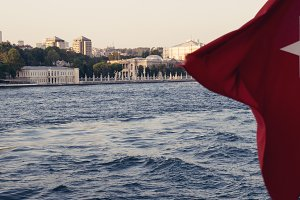 Flag Turkey and Sea