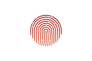 Flat fingerprint icon app