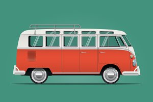 Classic Old School Car Illustration