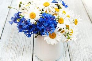 Daisiea and cornflowers