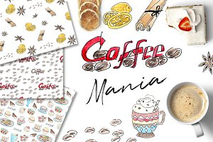 COFFEEMANIA clipart & patterns set