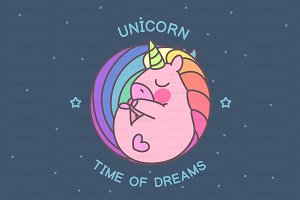 ♥ vector sleeping cute unicorn