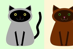 Black/Gray and Brown cats