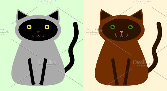 Black/Gray and Brown cats in Illustrations
