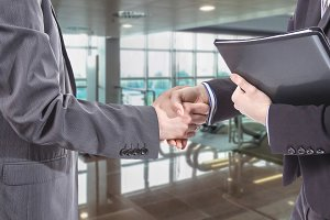 Business handshake for closing deal