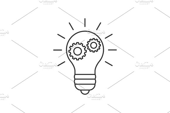 Lightbulb With Cogs Line Icon