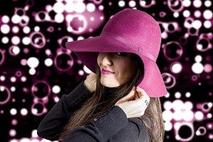 Girl with garnet head over spotlight