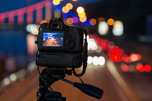 Professional camera in night city