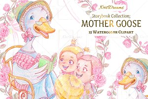 Mother Goose Watercolor Clip Art